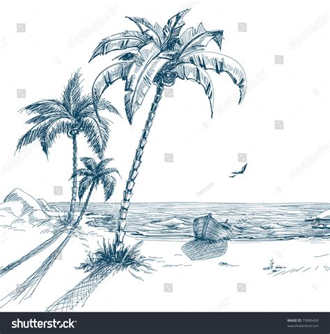 how to draw a boat on shore summer beach palm trees seagulls boat stock vector