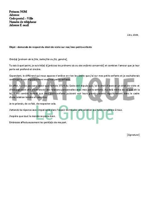 Lettre De Demande De Visa De Visite lettre de demande amiable de respect du droit de visite
