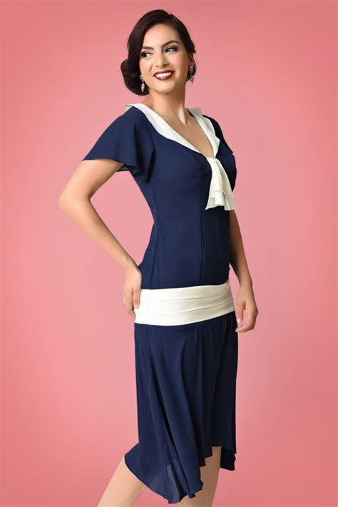 Ivory Jumbo Tunik By Unique 1 20s wilshire chiffon flapper dress in navy