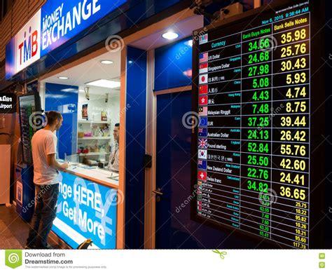 bangkok bank exchange currency exchange rates led display board at airport