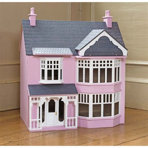 author of a dolls house pink wooden art deco style 3 storey dolls house kit