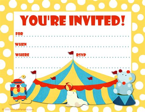 free printable party invitations big top circus themed