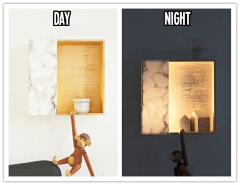 Light Bulb Crafts How To Make Diy Hidden Wall Light With Wooden Storage