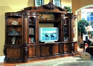 Ashley Furniture Bookshelves - cherry amp ash burl finish classic entertainment wall unit
