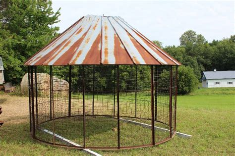 Metal Corn Crib For Sale by Corn Crib W Slanted Metal Roof Grate Wall Sections 13