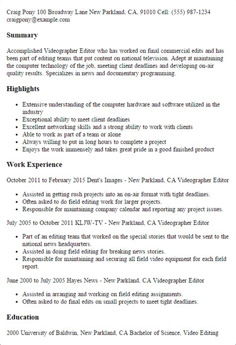 Videographer Editor Cover Letter by Videographer Editor Resume Template Best Design Tips Myperfectresume