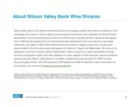 silicon valley bank bank silicon valley bank 2015 state of the wine industry