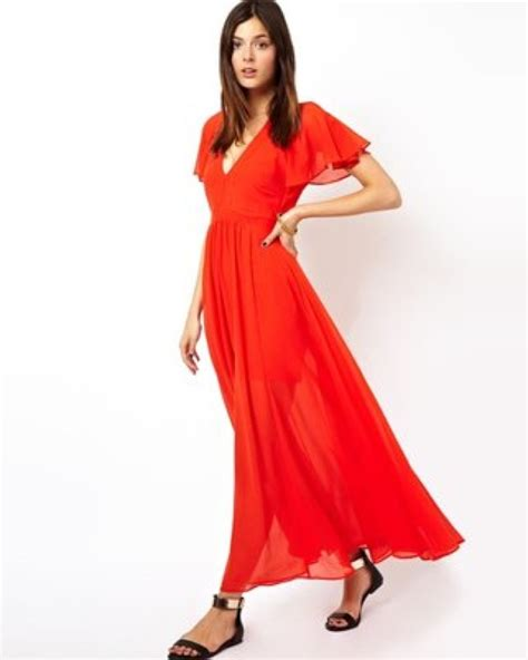 Cheap Websites For Home Decor by Asos Maxi Dress With Deep Plunge And Ruffle Sleeve Saved