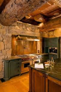 Log Cabin Kitchen Designs Rustic Bark Log Kitchen Cabin Kitchen Bar Pinterest