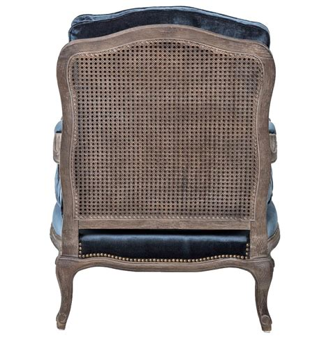 blue velvet style oak bergere arm chair
