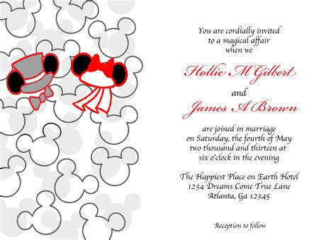 www pixiedustinvitations mickey and minnie mouse wedding hat wedding invitation