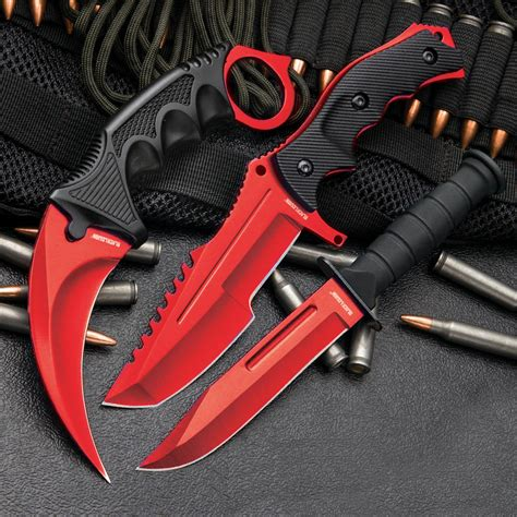 Kitchen Knives Set csgo counter strike red fixed blade knife set karambit