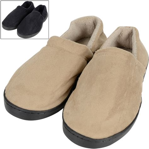 mens sole slippers mens cosy sole plush faux suede slippers terry lining