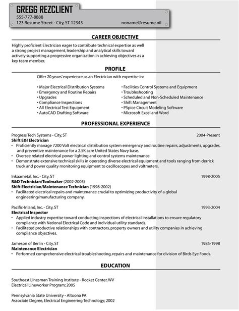 exle of a resume for an electrician