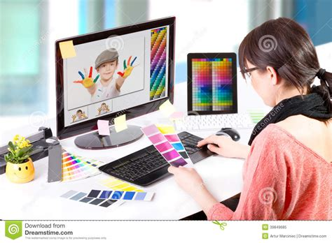 designing design graphic designer at work color sles stock image