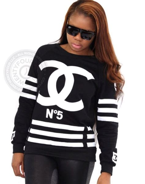 Dress Coco Hodie top sweatshirt white black plus size designer coco chanel sweater wheretoget