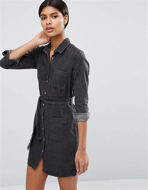 asos asos denim belted shirt dress in washed black