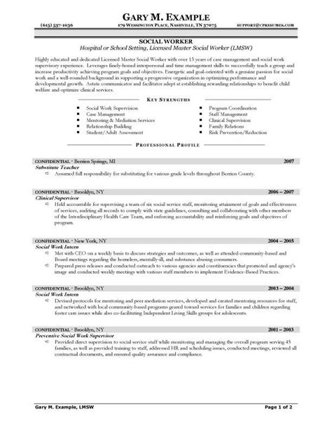 social work resume template resume sles types of resume formats exles and