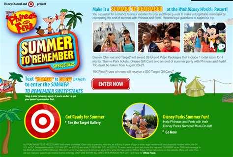 Disney Channel Summer Sweepstakes - disney and target present disney phineas and ferb summer to remember sweepstakes