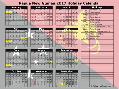 Papua New Guinea Calend 2018 Papua New Guinea 2017 2018 Calendar