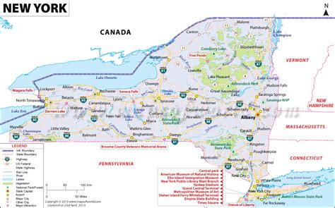 map of state of new york new york map maps