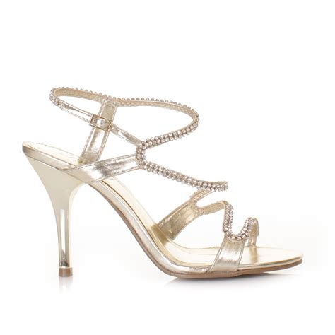 bridal strappy sandals womens strappy diamante prom wedding sandals