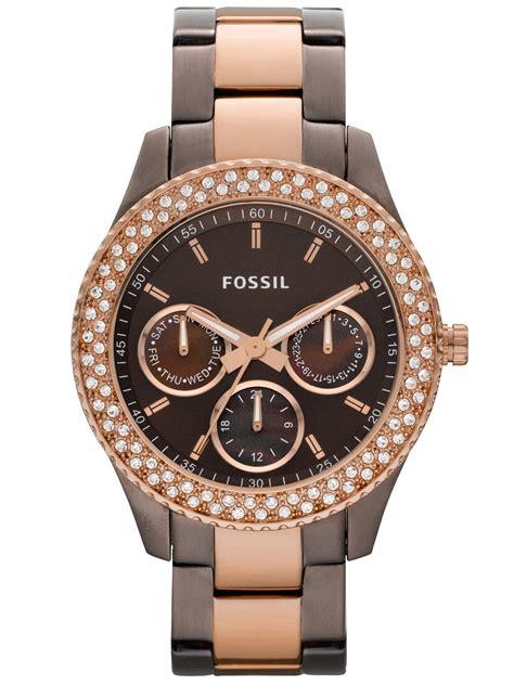 Damen Uhren by Fossil Damenuhren Gold Rotgold Schwarz Kupfer Reduziert