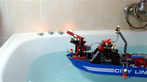 fire boat water cannon lego technic rc fire boat with working water cannon youtube