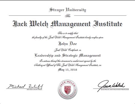 Welch Management Institute Executive Mba Program by Graduate Certificate In Strategy And Leadership From Jwmi