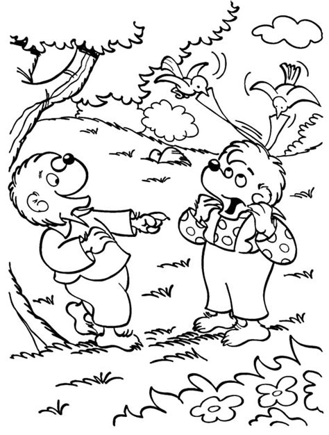 sister bear coloring page brother and sister berenstain bear in the wood coloring