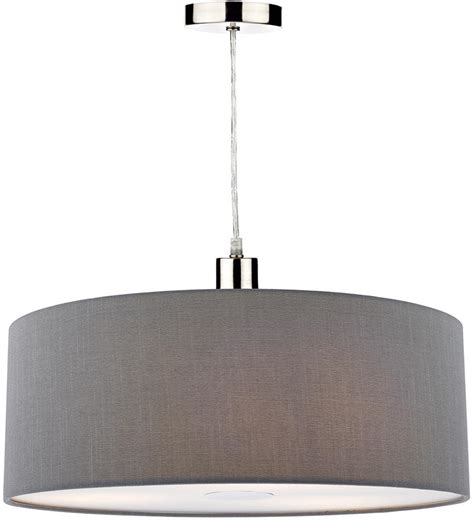 60cm drum l shade dar ronda 60cm grey drum easy fit pendant shade with