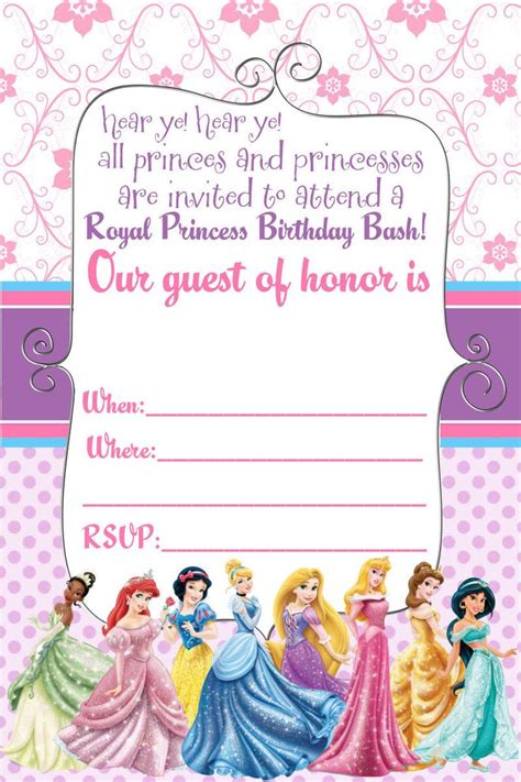 free printable birthday invitations without downloads princess birthday card printable kids coloring europe
