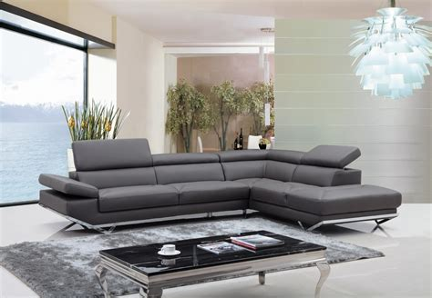 Modern Grey Sofa by Divani Casa Modern Grey Eco Leather Sectional