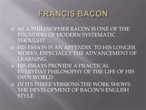 Prose Style Of Francis Bacons Essays by Auto Auction Usa