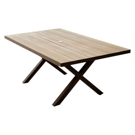 wood outdoor dining table lonsdale faux wood patio dining table target