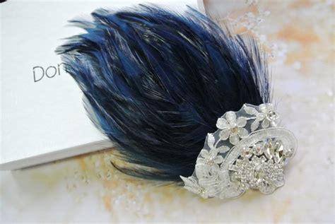 Vintage Style Wedding Hair Clips Wedding Hair Clip Navy Blue Fascinator Vintage Style