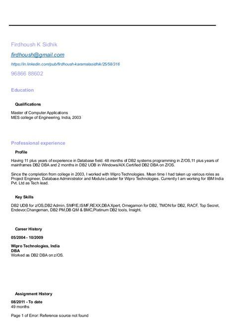 Z Os Administrator Resume by Resume Db2 Dba Mainframe