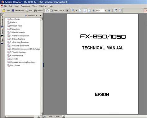Printer Epson Fx 1050 epson fx 850 fx 1050 printers service manual service