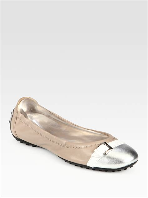 Flat Shoes Tods 4706 tod s leather metallic leather buckle ballet flats in beige lyst