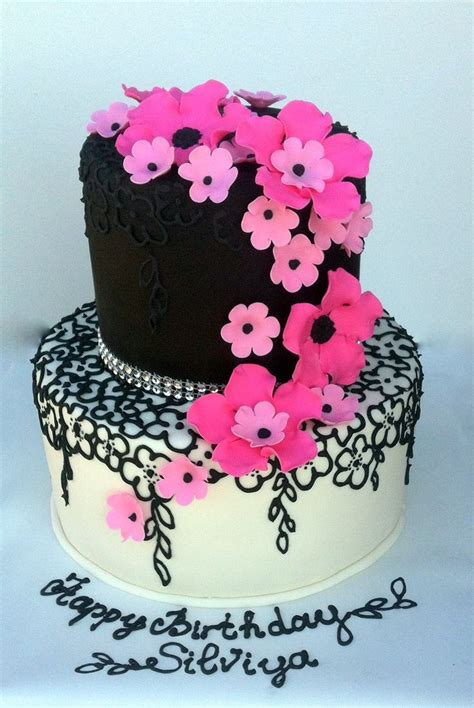 Two Tier Hot Pink Black And White Cake With Tone On Tone