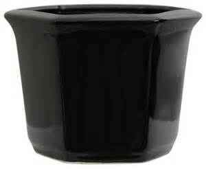 10 quot solid black porcelain flower pot traditional