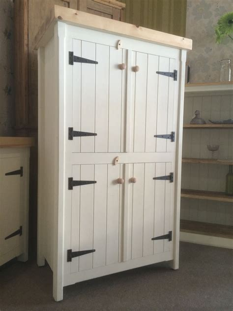 Free Standing Kitchen Pantry Furniture Rustic Wooden Pine Freestanding Kitchen Handmade Cupboard Unit Pantry Larder Pantrys