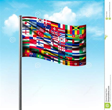 flags of the world large images world flags on a big flag stock vector image 60174045