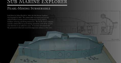 Submarine Papercraft - sub marine explorer steunk submarine papercraft