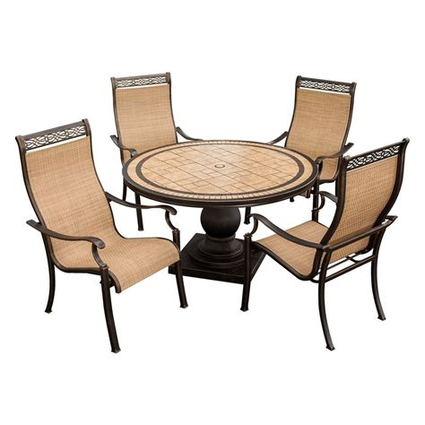 Shop Hanover Outdoor Furniture Monaco 5 Piece Bronze Stone Outdoor Patio Dining Chairs
