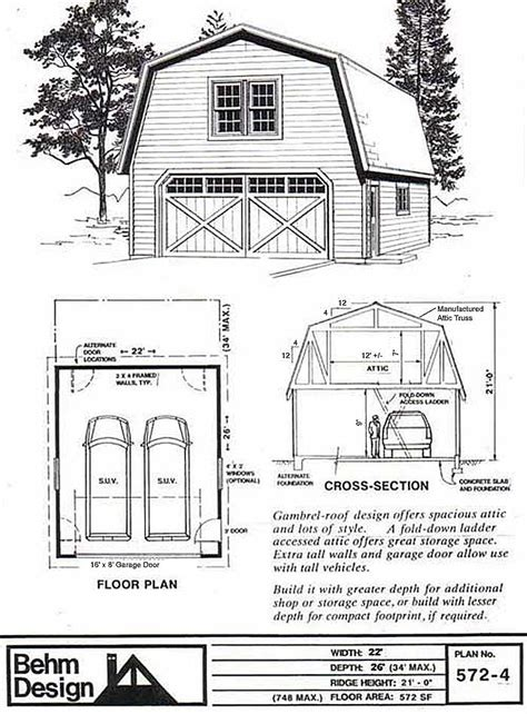 garage plans online 2 car suv sized gambrel roof garage with attic plan 572 4