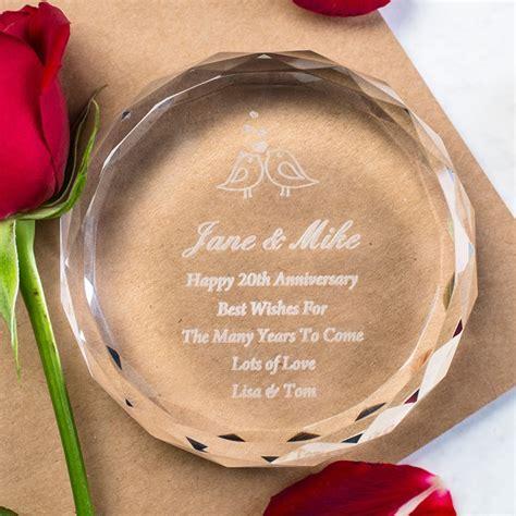 Personalised Round Glass Paperweight   Anniversary