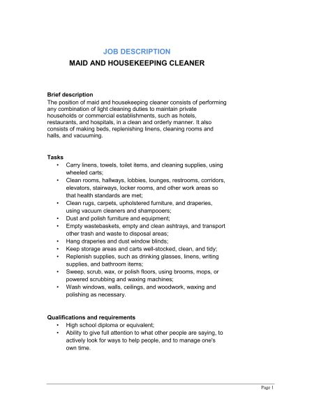 and housekeeping cleaner description template sle form biztree