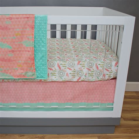 Mint And Coral Crib Bedding by Tribal Crib Bedding Coral Mint Salmon Gold