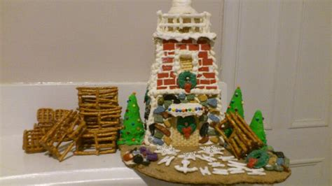 gingerbread lighthouse pretzel lobster traps and misc
